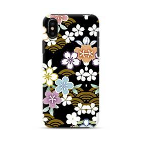 和風・桜&浪 iPhone X ポリカーボネート タフケース