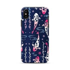 和柄:桜&錦鯉 iPhone X ポリカーボネート タフケース