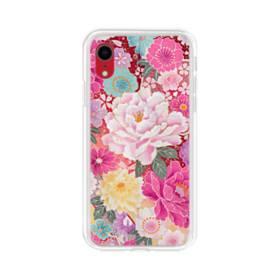 和の花柄:牡丹 iPhone XR TPU クリアケース