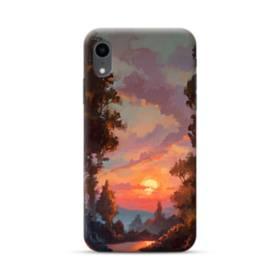 野原の夕暮れ景色 iPhone XR ポリカーボネート ハードケース