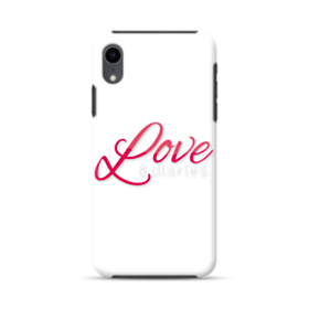バレンタインデー・ペア・デザイン・アルファベット:love (ホワイト) iPhone XR ハイブリッド タフケース