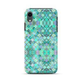 エメラルドグリーンのモザイク・パターン iPhone XR ハイブリッド タフケース