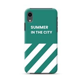 ミントグリーン&英文:Summer in the city iPhone XR ハイブリッド タフケース