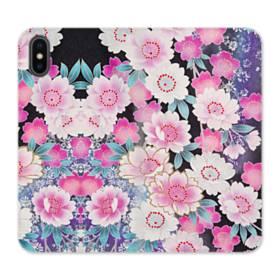 和の花柄 iPhone XS 合皮 手帳型ケース
