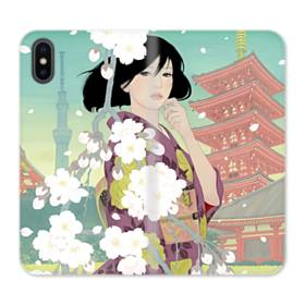 ザ・桜&ジャパンガール! iPhone XS 合皮 手帳型ケース