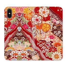 和・花柄 iPhone XS 合皮 手帳型ケース
