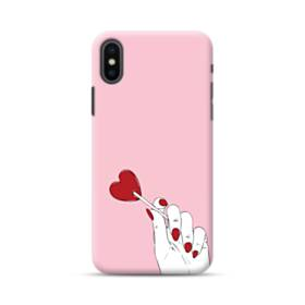 指とハート iPhone XS ポリカーボネート ハードケース