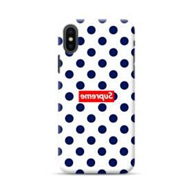 紺のドット&真っ逆になったスーパー ミ(super me) iPhone XS ポリカーボネート ハードケース