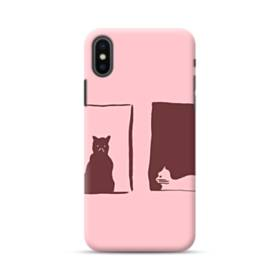 デザイン 窓&猫 iPhone XS ポリカーボネート ハードケース