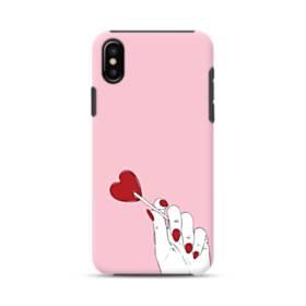 指とハート iPhone XS ポリカーボネート タフケース