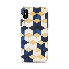 タイル模様・白&紺 iPhone XS ポリカーボネート タフケース