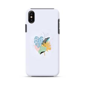 ホワイト&デザイン リーフ iPhone XS ポリカーボネート タフケース