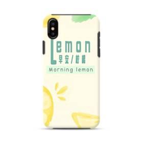 デザイン・漢字&アルファベット:レモン、おはよう。 iPhone XS ポリカーボネート タフケース