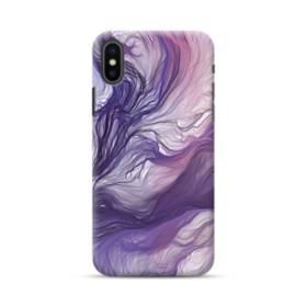 優雅な紫とブルー 抽象的な水彩絵 iPhone XS Max ポリカーボネート ハードケース