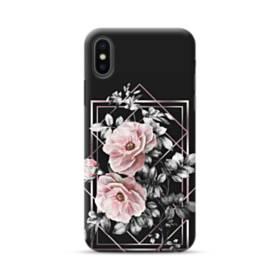 ブラック ピンク バラ ライン 優雅的 Geometry iPhone XS Max ポリカーボネート ハードケース