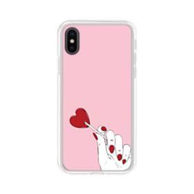 指とハート iPhone XS Max TPU クリアケース