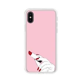 女の子の口紅と赤い爪 iPhone XS Max TPU クリアケース