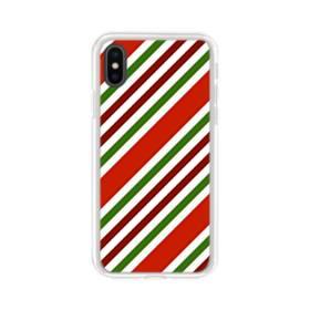 メリー クリスマス ストライプ パターン iPhone XS Max TPU クリアケース