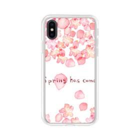 桜&デザイン英文 iPhone XS Max TPU クリアケース
