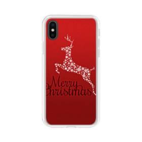 デザイン メリー クリスマス トナカイ&スノー iPhone XS Max TPU クリアケース
