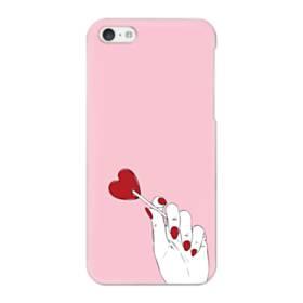 指とハート iPhone 5C ポリカーボネート ハードケース