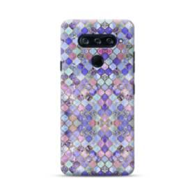 ブルー&パープル系モザイク・パターン LG V40 ThinQ ポリカーボネート ハードケース