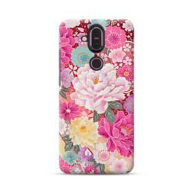 和の花柄:牡丹 Nokia 8.1 ポリカーボネート ハードケース