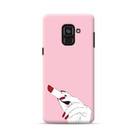女の子の口紅と赤い爪 Samsung Galaxy A8 (2018) ポリカーボネート ハードケース