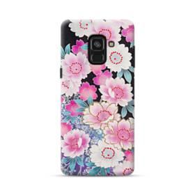 和の花柄 Samsung Galaxy A8 Plus (2018) ポリカーボネート ハードケース