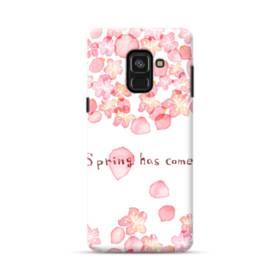 桜&デザイン英文 Samsung Galaxy A8 Plus (2018) ポリカーボネート ハードケース