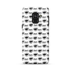 白黒系アート・まつ毛のモチーフ Samsung Galaxy A8 Plus (2018) ポリカーボネート ハードケース