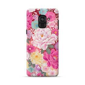 和の花柄:牡丹 Samsung Galaxy A8 Plus (2018) ポリカーボネート ハードケース