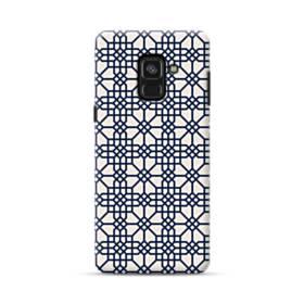 紺とピンクの幾何図パターン Samsung Galaxy A8 Plus (2018) ポリカーボネート ハードケース