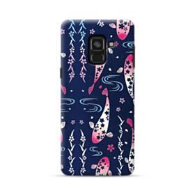 和柄:桜&錦鯉 Samsung Galaxy A8 Plus (2018) ポリカーボネート ハードケース