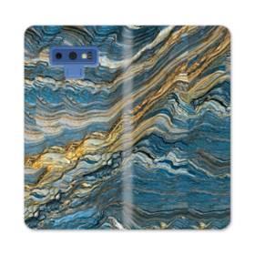 マーブル模様・白&藍 Samsung Galaxy Note 9 合皮 手帳型ケース