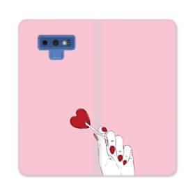 指とハート Samsung Galaxy Note 9 合皮 手帳型ケース