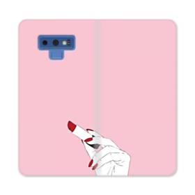女の子の口紅と赤い爪 Samsung Galaxy Note 9 合皮 手帳型ケース