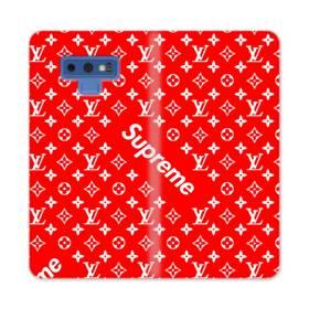 ルイ・ヴィトン&シュプリーム赤バージョン) Samsung Galaxy Note 9 合皮 手帳型ケース
