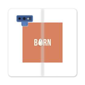デザイン アルファベット:born (誕生) Samsung Galaxy Note 9 合皮 手帳型ケース