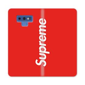 ニューヨークより赤のシュプリーム(super me) Samsung Galaxy Note 9 合皮 手帳型ケース