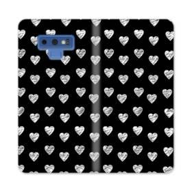 ハートのパターン Samsung Galaxy Note 9 合皮 手帳型ケース