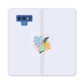 ホワイト&デザイン リーフ Samsung Galaxy Note 9 合皮 手帳型ケース