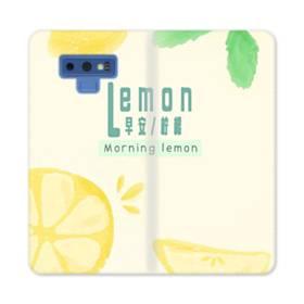 デザイン・漢字&アルファベット:レモン、おはよう。 Samsung Galaxy Note 9 合皮 手帳型ケース