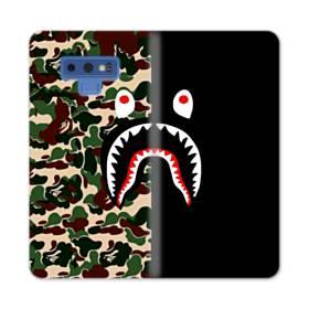 シュプリーム  カモフラージュ&ブラック模様 Samsung Galaxy Note 9 合皮 手帳型ケース