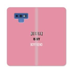 デザイン・アルファベット:netflix is my boyfriend Samsung Galaxy Note 9 合皮 手帳型ケース