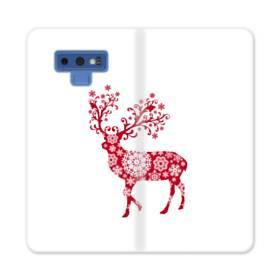 クリスマス デザイン トナカイ&スノー Samsung Galaxy Note 9 合皮 手帳型ケース