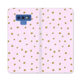 ハニー・星柄&ピンク Samsung Galaxy Note 9 合皮 手帳型ケース