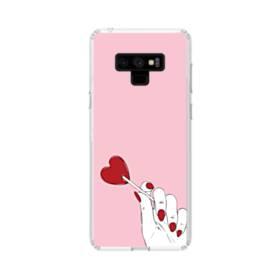 指とハート Samsung Galaxy Note 9 TPU クリアケース