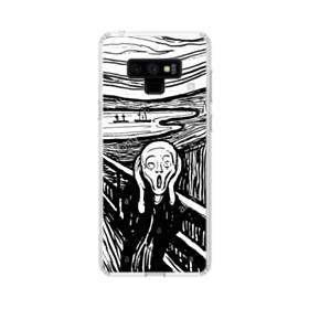 ユニークな白黒系アート:あーーーーー! Samsung Galaxy Note 9 TPU クリアケース