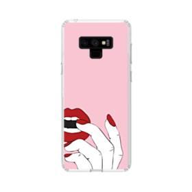 女の子の赤い唇と爪 Samsung Galaxy Note 9 TPU クリアケース